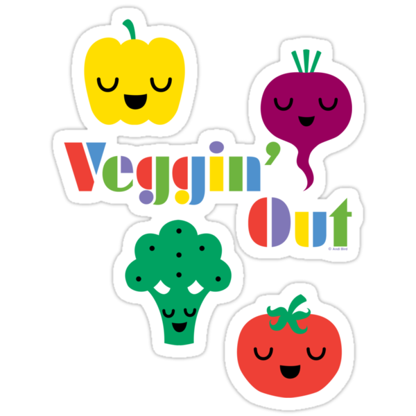 Veggin' Out (colored type) white by Andi Bird