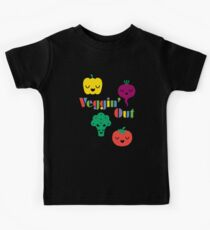 Veggin' Out (colored type) dark Kids Tee