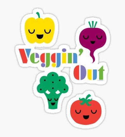 Veggin' Out (colored type) dark Sticker