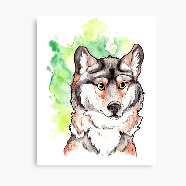 Mexican Gray Wolf - Watercolor Painting Canvas Print