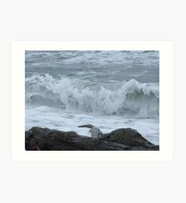 Rushing Waves at the Laggon Art Print
