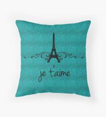Teal Vintage French Flourish Throw Pillow
