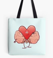 Cartoon heart getting rid of its brain costume Tote Bag