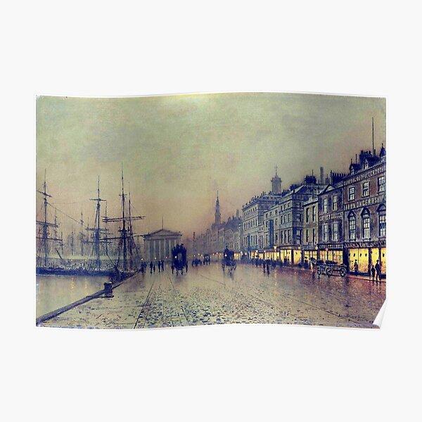 Greenock dockside by night by John Atkinson Grimshaw Poster