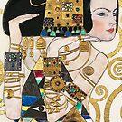 Woman with gold jewelry....Jugendstil Art Nouveau by edsimoneit