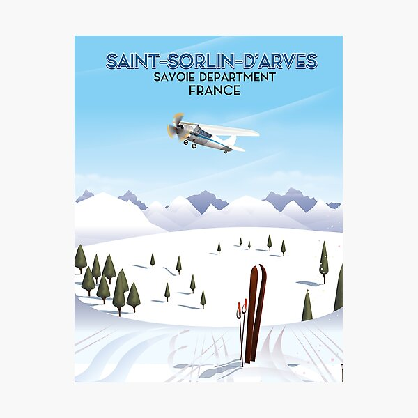 Saint-Sorlin d'Arves France travel poster Photographic Print