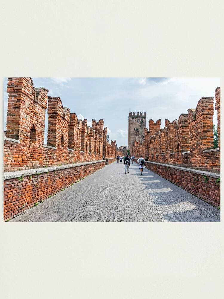 Alternate view of Walking on Ponte Castelvecchio in Verona, Italy Photographic Print