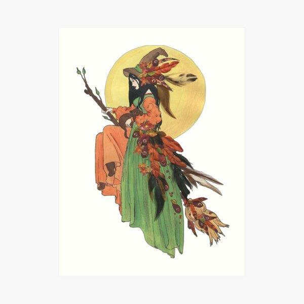 """plumes et autocollants sur papier aquarelle 9 """"x11"""" ! http: //rlv.zcache.com/autumn_witch_address_label_stickers-p217042900142497877836x_325.jpg!  calendrier ! http: //rlv.zcache.com/witchy_calendar-p1580596894740563752vqvs_325.jpg! Marque-page Hall Impression artistique"""