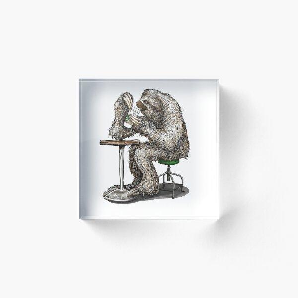 Steve the Sloth Taking a Coffee Break - dotsofpaint Acrylic Block