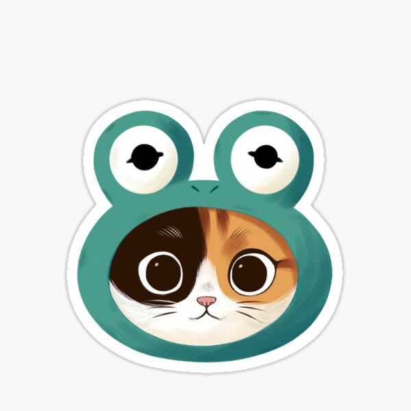 Cat with frog hat Sticker