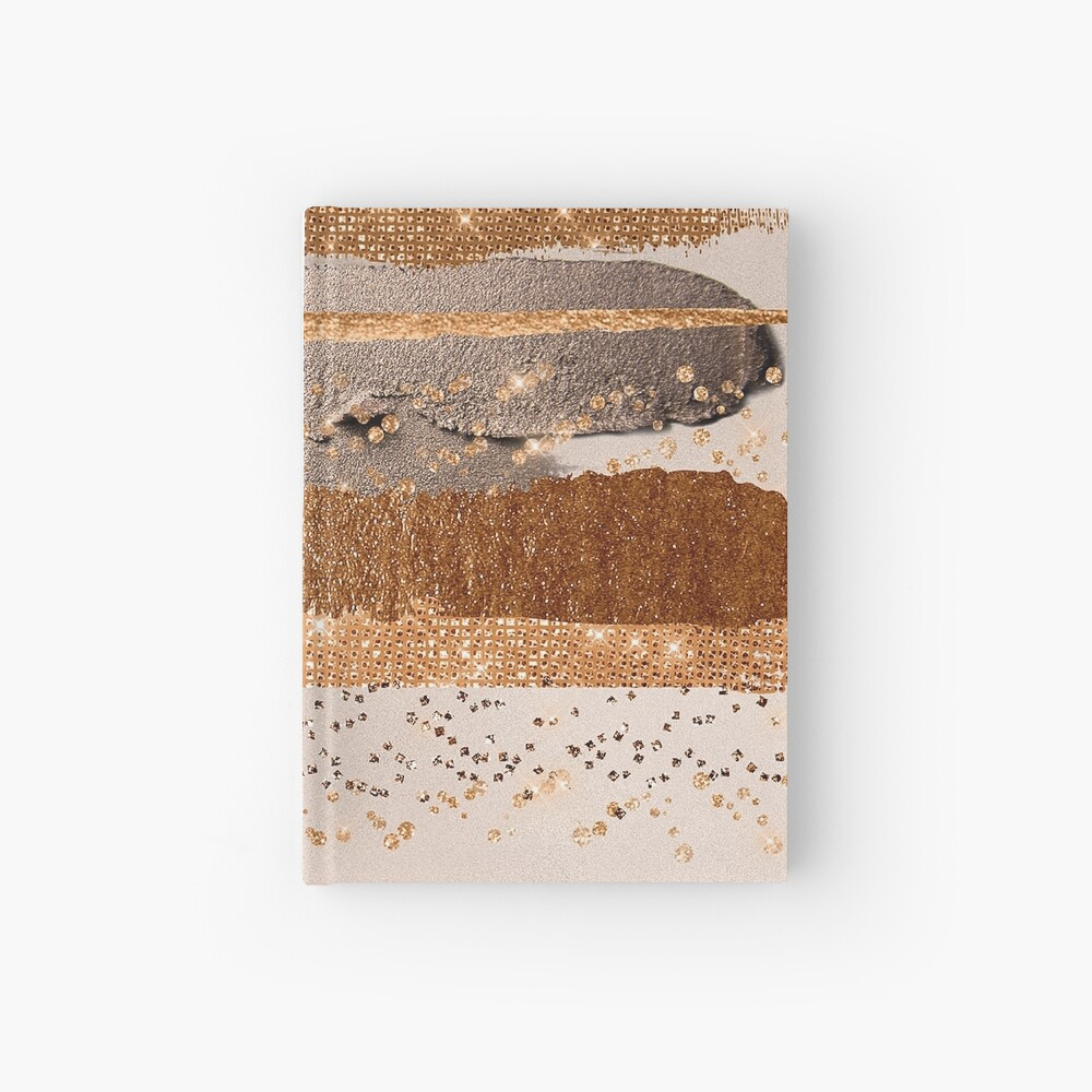 Glitter and Metal Foil Strokes on Copper Blush Metal Hardcover Journal