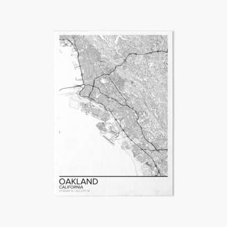 Oakland map poster print wall art, California gift printable, Home and Nursery, Modern map decor for office, Map Art, Map Gifts Art Board Print