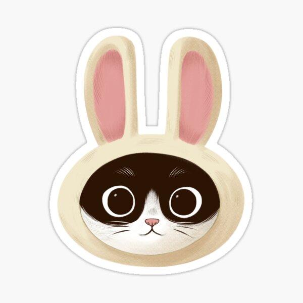 Cat with rabbit hat Sticker