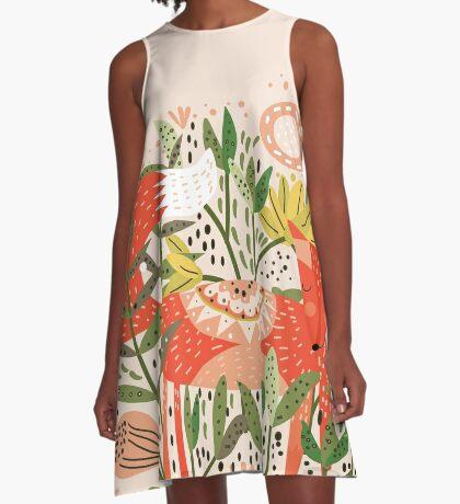 Happy Fox Tale A-Line Dress