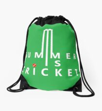 Summer is Cricket Drawstring Bag