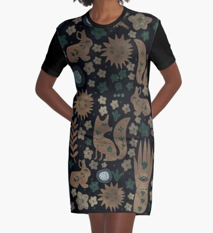 Nightlife Elements Graphic T-Shirt Dress