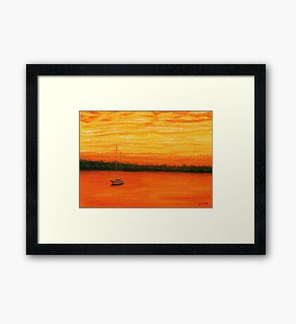 Sunset on the lake. Framed Print