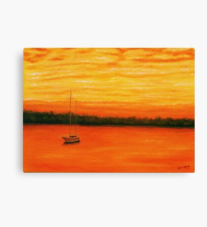 Sunset on the lake. Canvas Print