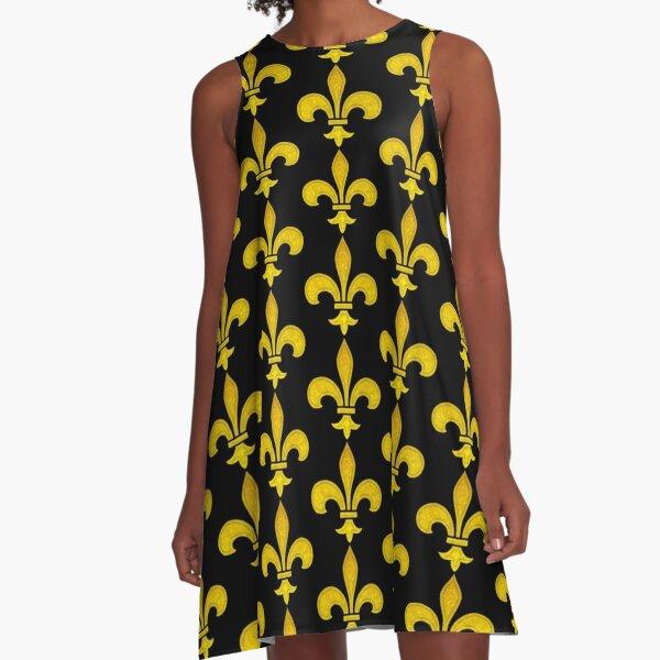 Fleur De Lis Gold Leaf Bevel Burn Mardi Gras New Orleans Pattern A-Line Dress