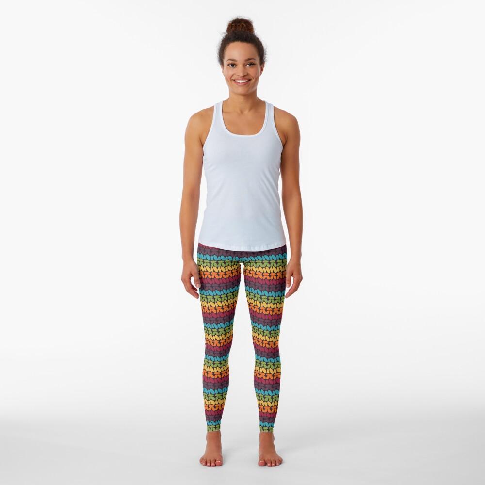 Pseudo crochet pattern with rainbow colors Leggings
