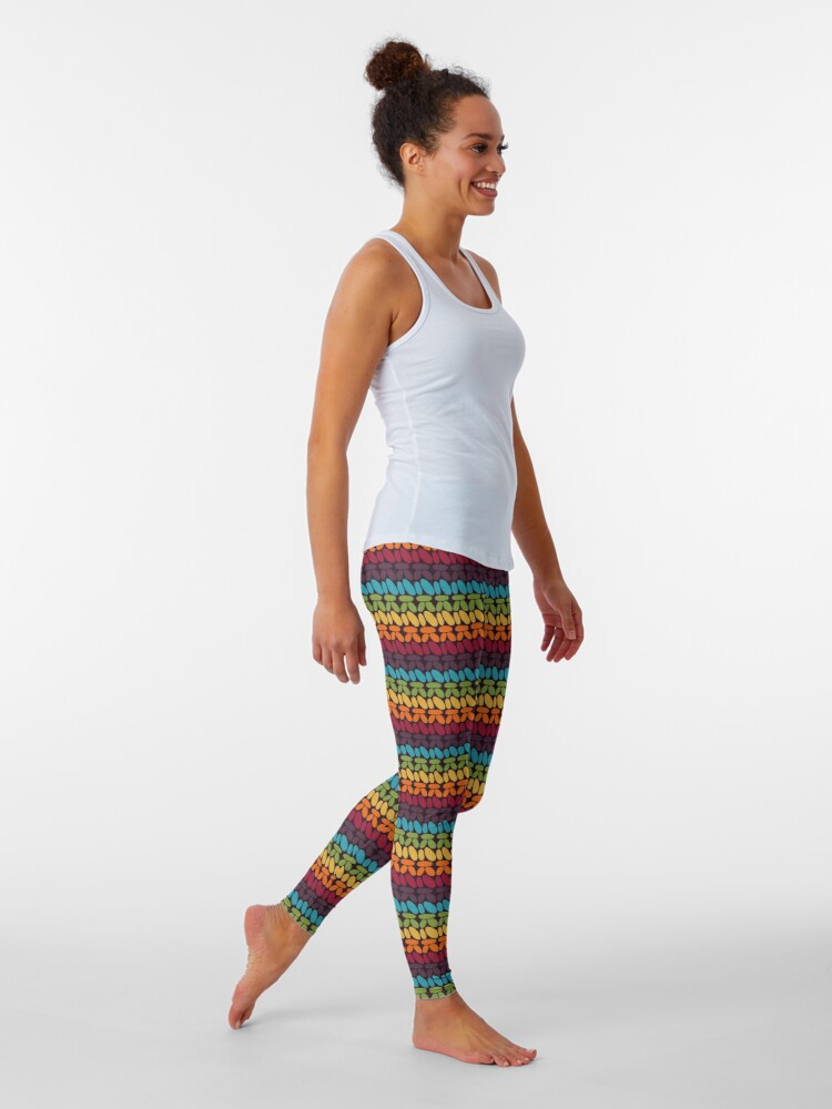 Alternate view of Pseudo crochet pattern with rainbow colors Leggings