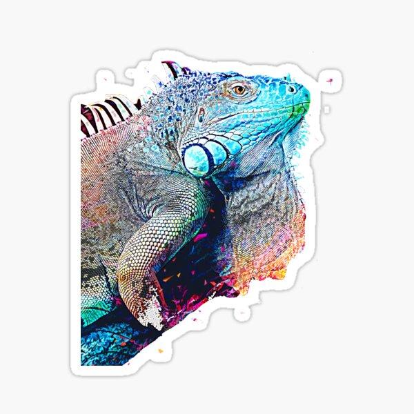 handsome green blue iguana  Sticker