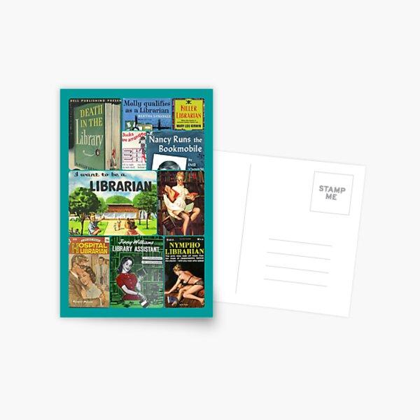 Bibliothekare auf Bücher Postkarte