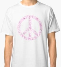 Vintage Girly Flower Peace Sign Classic T-Shirt