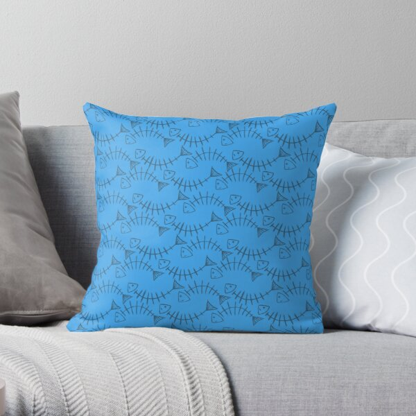 Sketchy Fish-bones Throw Pillow