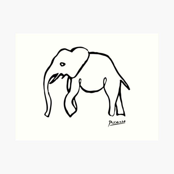 Pablo Picasso, Rare Elephant Drawing, Line Sketch Artwork, Prints, Posters, Bags, Tshirts, Men, Women, Kids Art Print