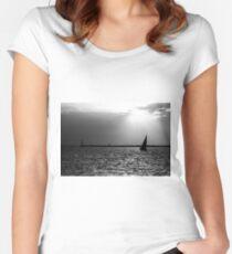 Serene Horizon Women's Fitted Scoop T-Shirt