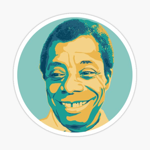 James Baldwin Teal and Gold Sticker