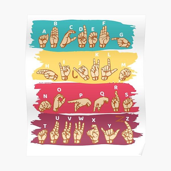 'ASL Alphabet' Cool ASL Sign Language Gift Poster