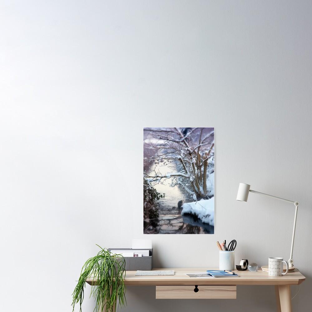 Heron Winter Scene Poster