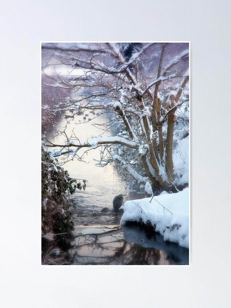 Alternate view of Heron Winter Scene Poster