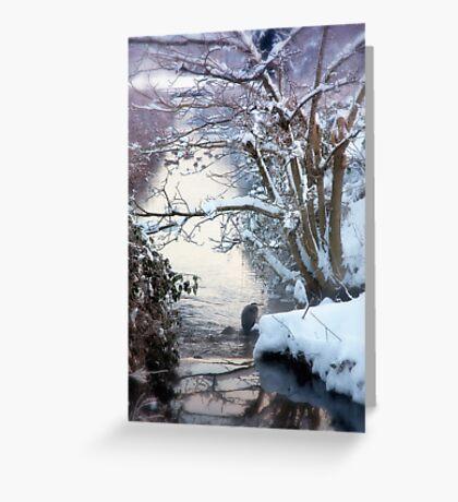 Heron Winter Scene Greeting Card