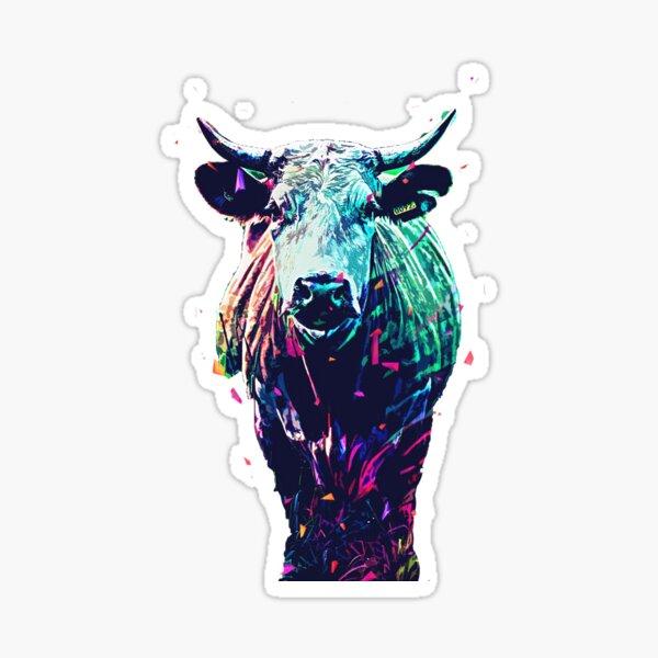 beautiful colorful cute cow  Sticker