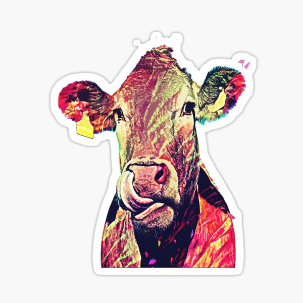 funny cute female cow  Sticker