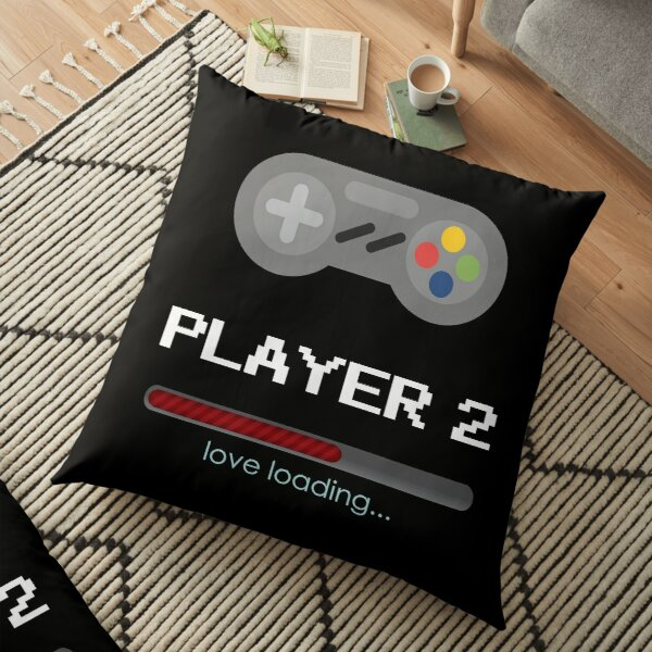 Player 2 love loading - Gamers couples Relationship - Valentines Day - Boyfriend, Girlfriend Floor Pillow