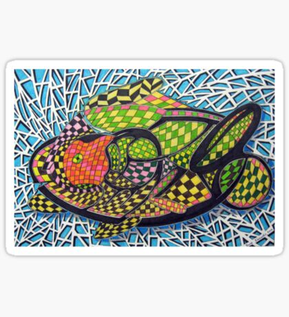294 - ABSTRACT FISH DESIGN T-SHIRT - DAVE EDWARDS - INK AND COLOURED PENCILS - 2010 Sticker