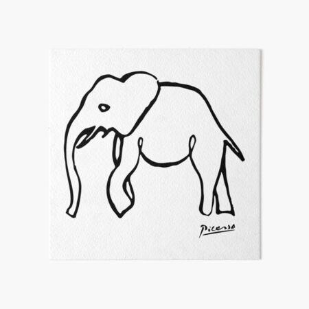 Pablo Picasso, Rare Elephant Drawing, Line Sketch Artwork, Prints, Posters, Bags, Tshirts, Men, Women, Kids Art Board Print