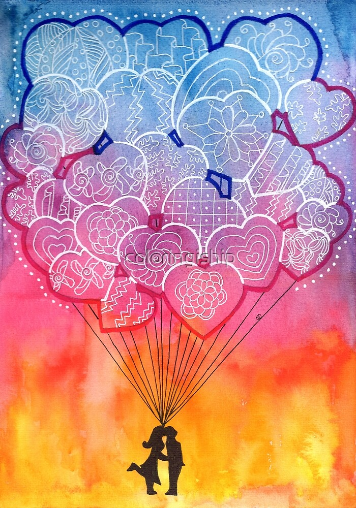 Watercolor Doodle   Lovers and Balloons by coloringiship