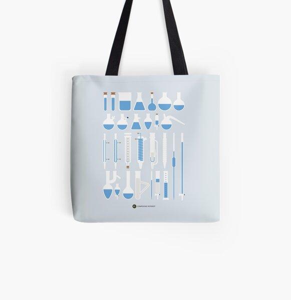 Chemistry Laboratory Glassware All Over Print Tote Bag