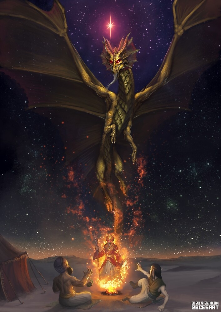 Brass Dragon reveals himself to two travelers by Bcesart