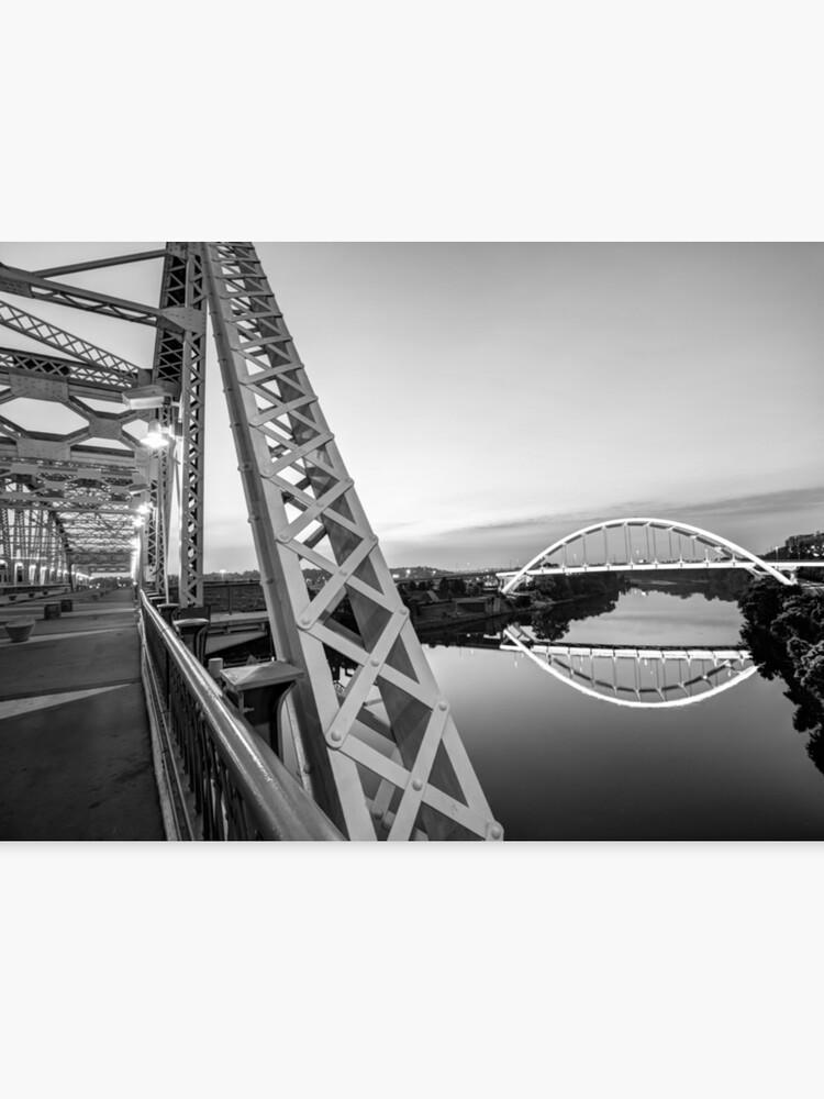 Nashville Korean Veterans Memorial Bridge From Pedestrian Bridge -  Monochrome | Canvas Print