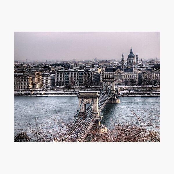 The Chain Bridge & Basilica - Budapest Photographic Print