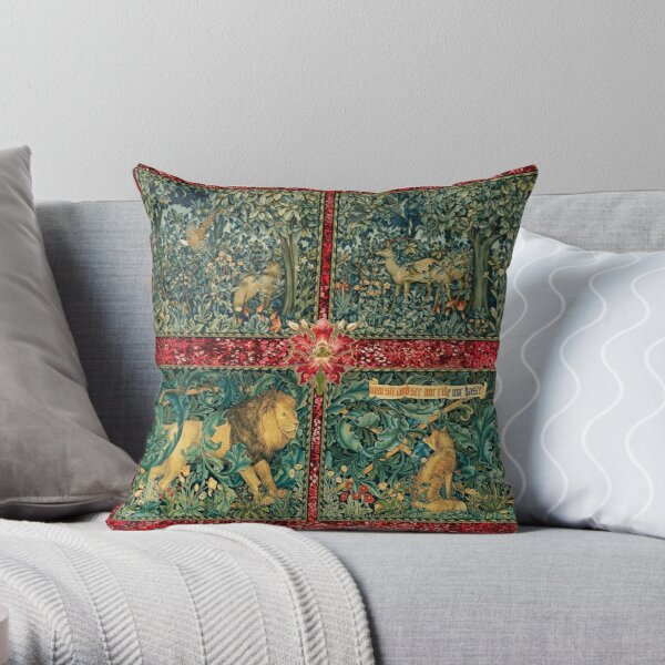GREENERY FOREST ANIMALS ,LION ,FOX,PHEASANT AND DOES Red Green Floral Tapestry Throw Pillow