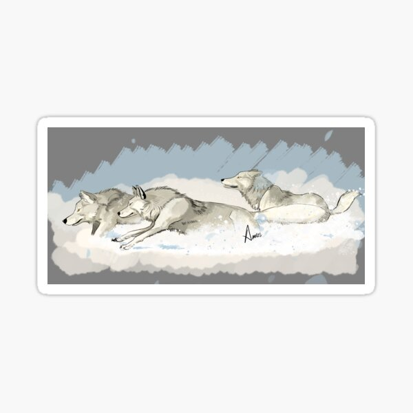 Brother Wolves Running in the Snow Sticker