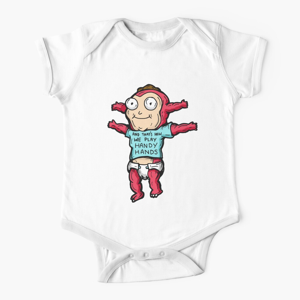 Morty Jr from Rick and Morty™ wearing 'and that's how we play handy hands' quote t-shirt Baby One-Piece
