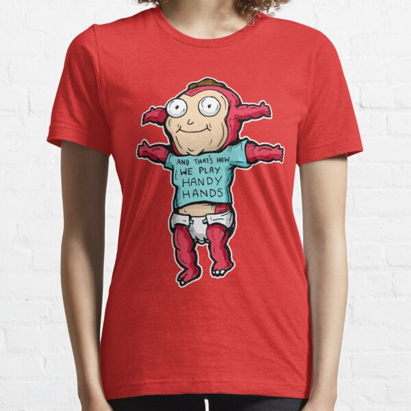 Morty Jr from Rick and Morty™ wearing 'and that's how we play handy hands' quote t-shirt Essential T-Shirt